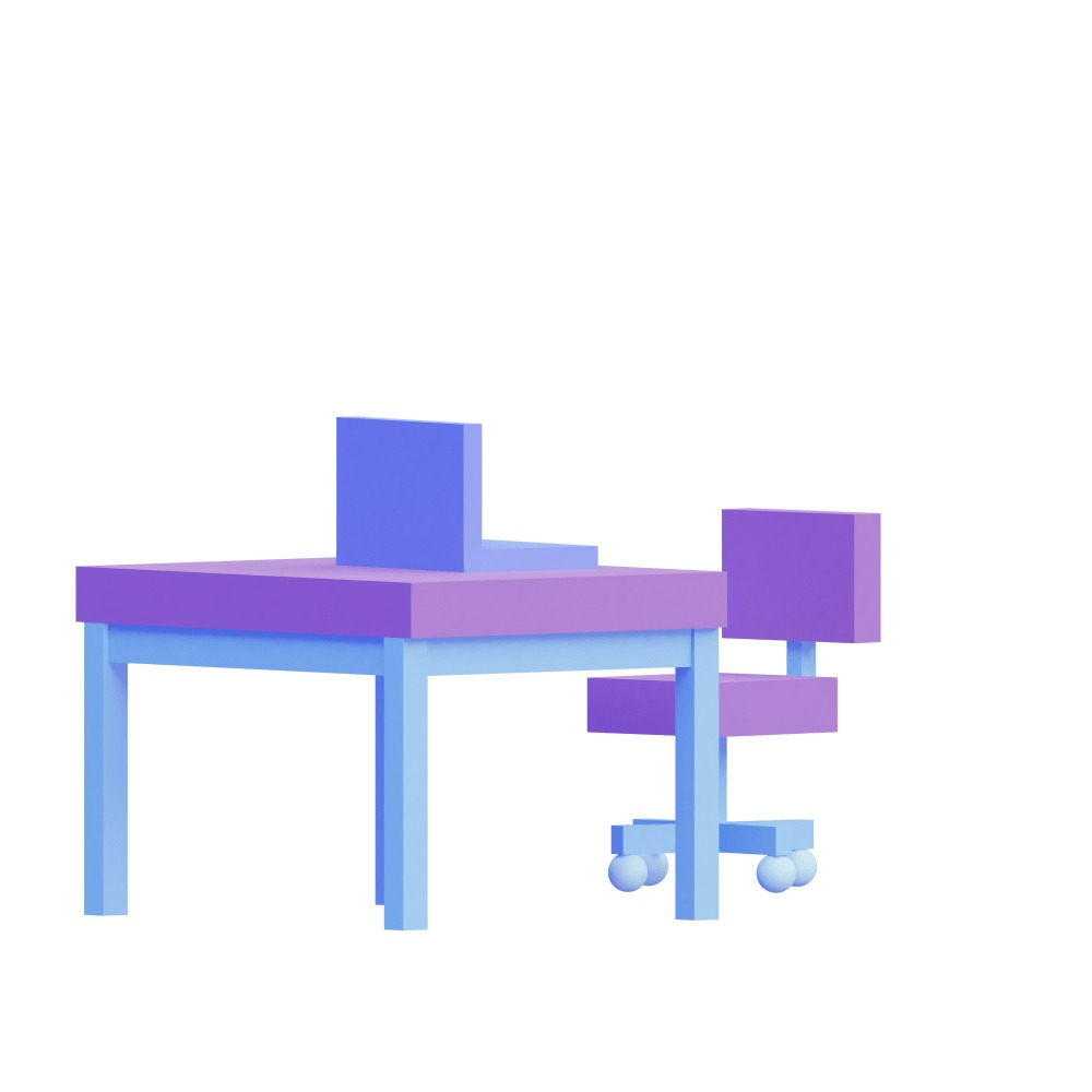 3d illustration of a desk in blue & purple colors
