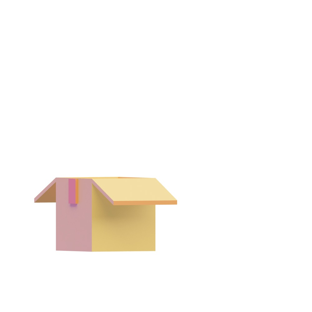 3d illustration of a small open box