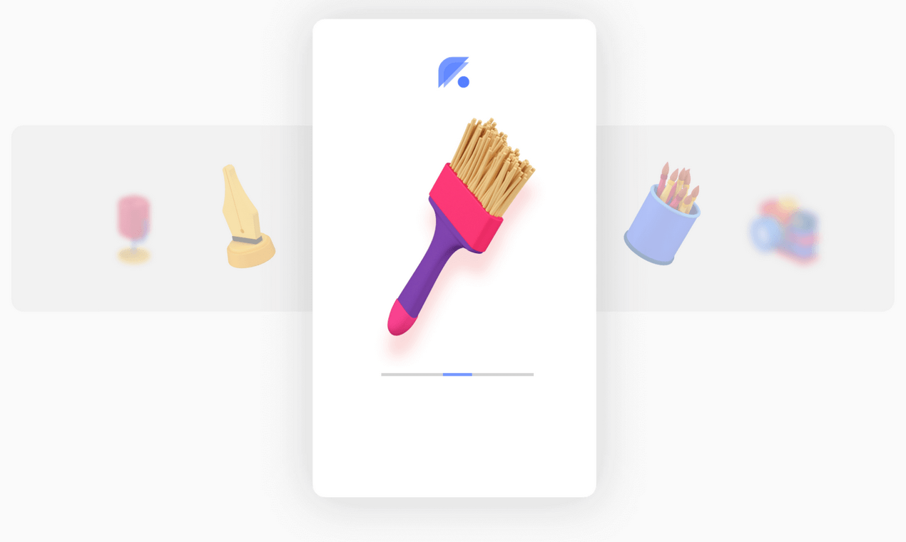 3d icon of a brush in a slider