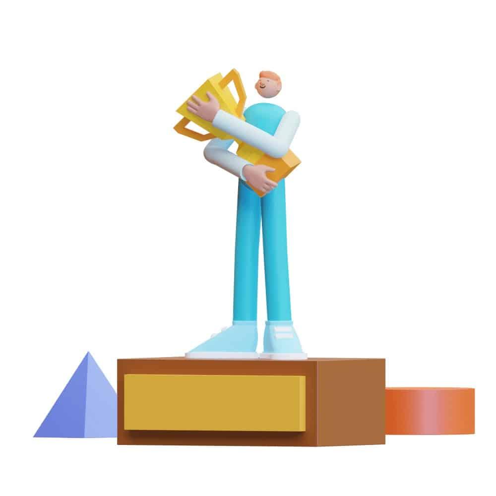3d character receiving a trophy or reward