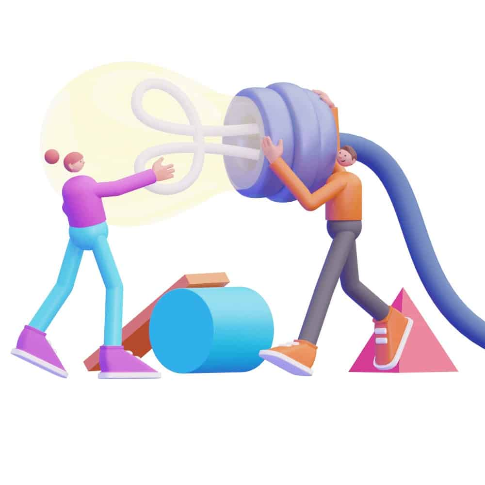 3d characters carrying a very large lightbulb