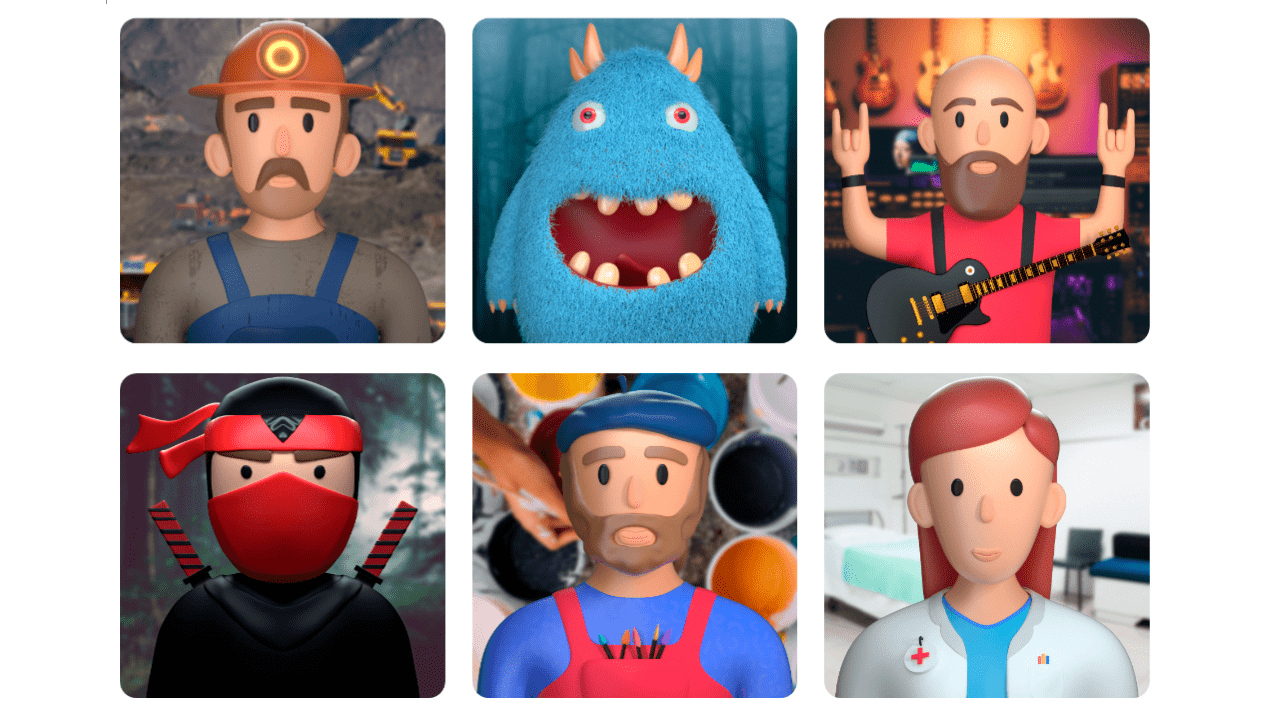 grid showing many 3d characters