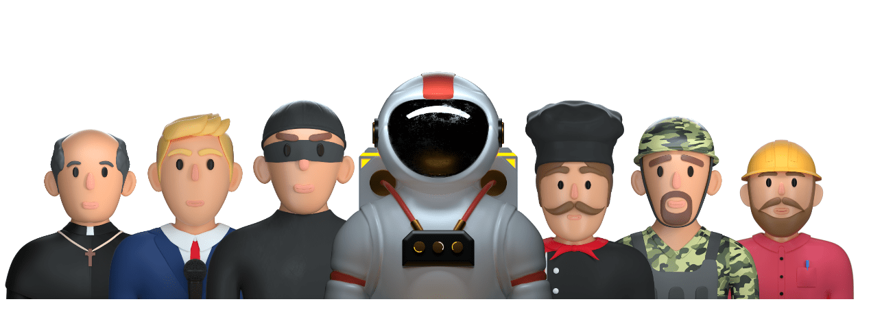 several 3d characters