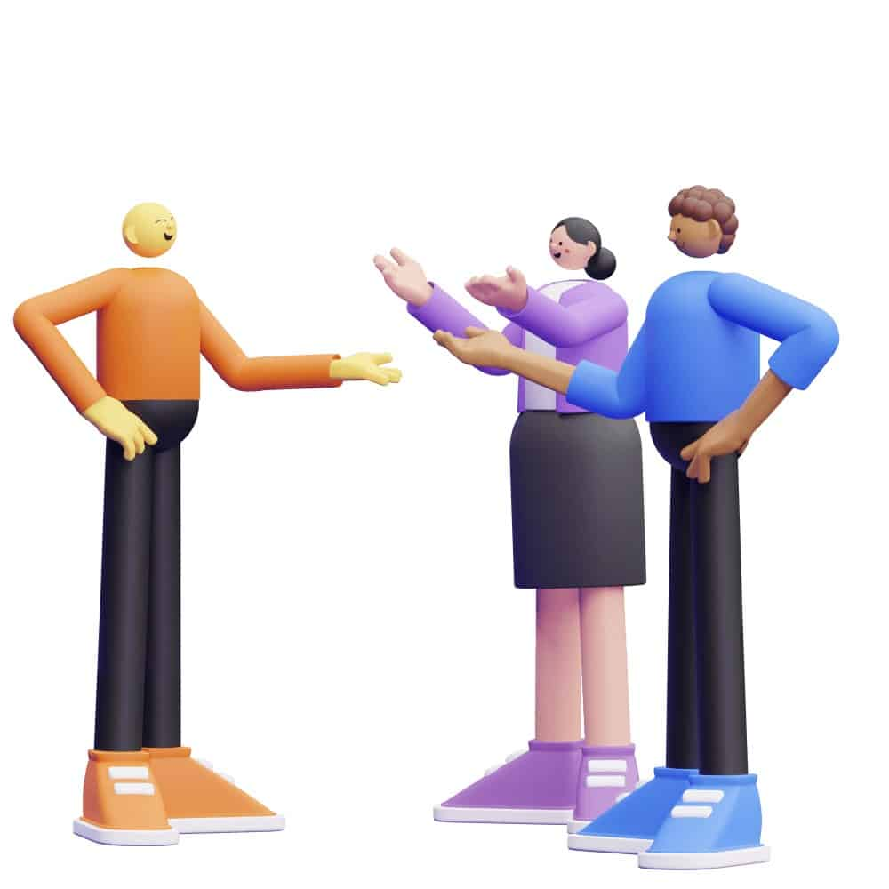 a group of 3d characters talking to each other