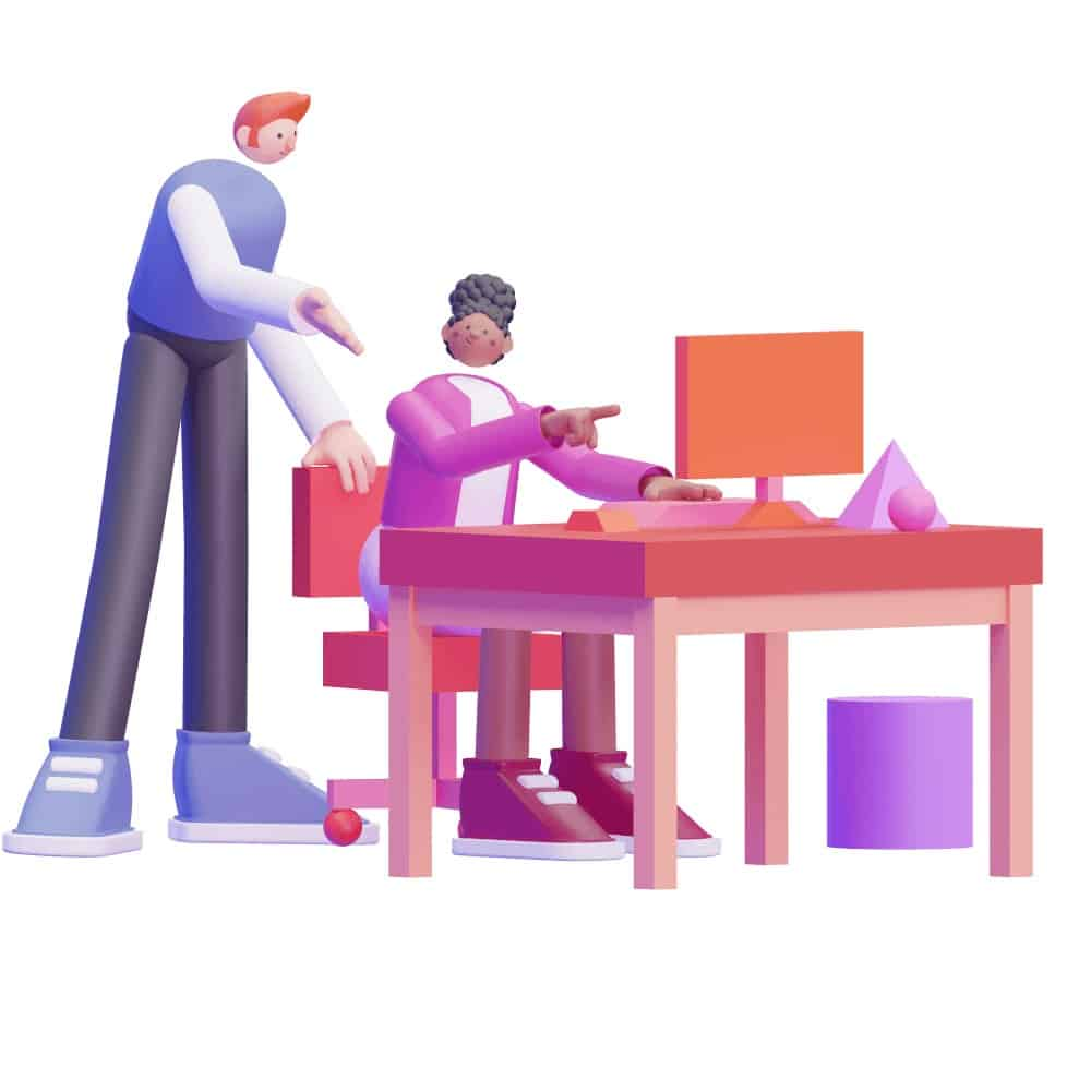 3d characters discussing work at a desk