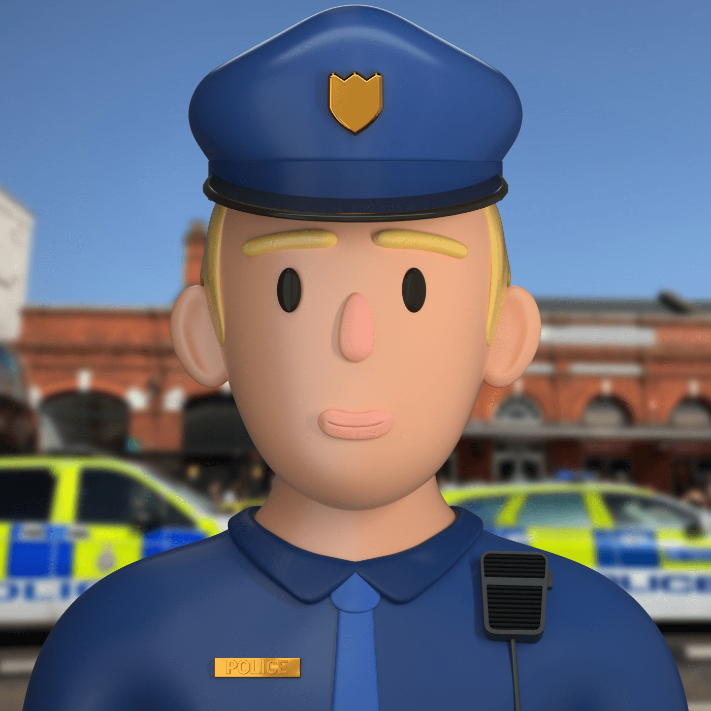 a cop character in 3d design style