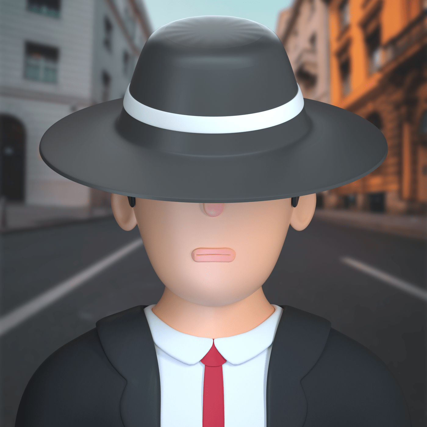 a detective character in 3d design style
