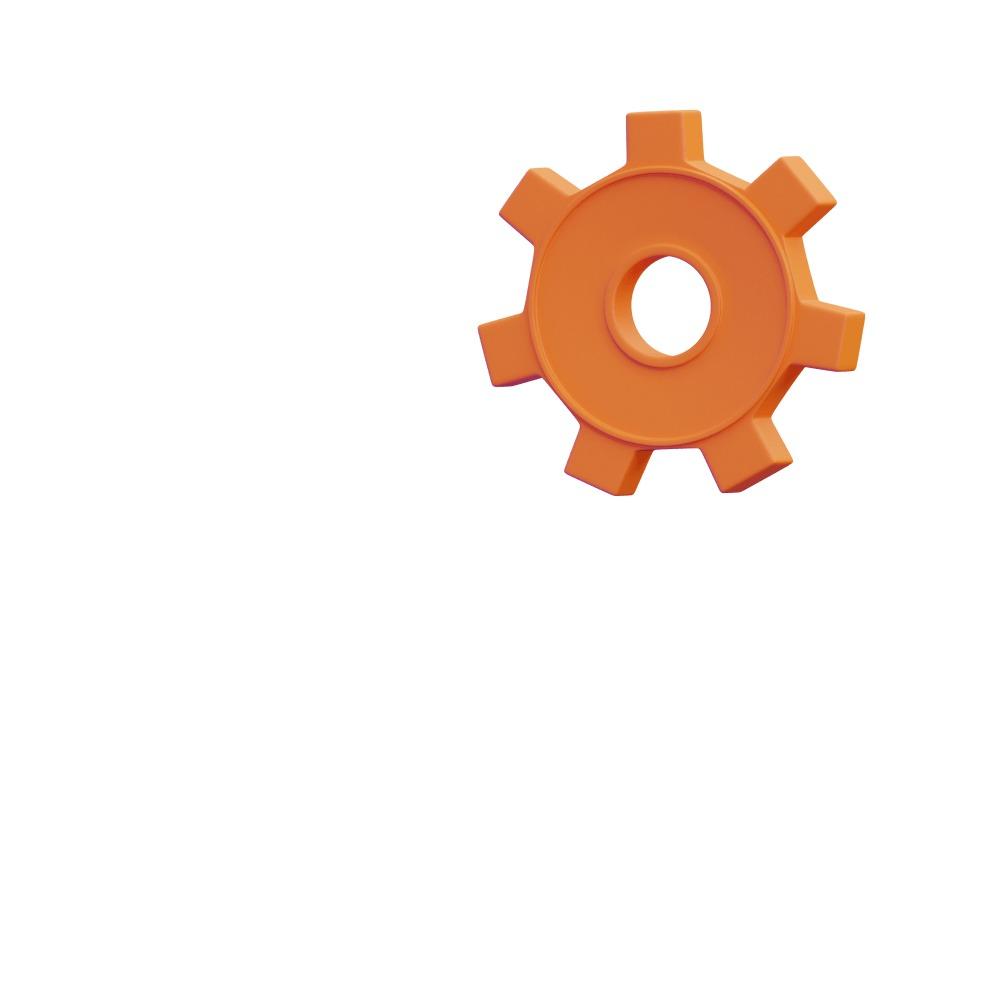 3d shape of an orange gear cog