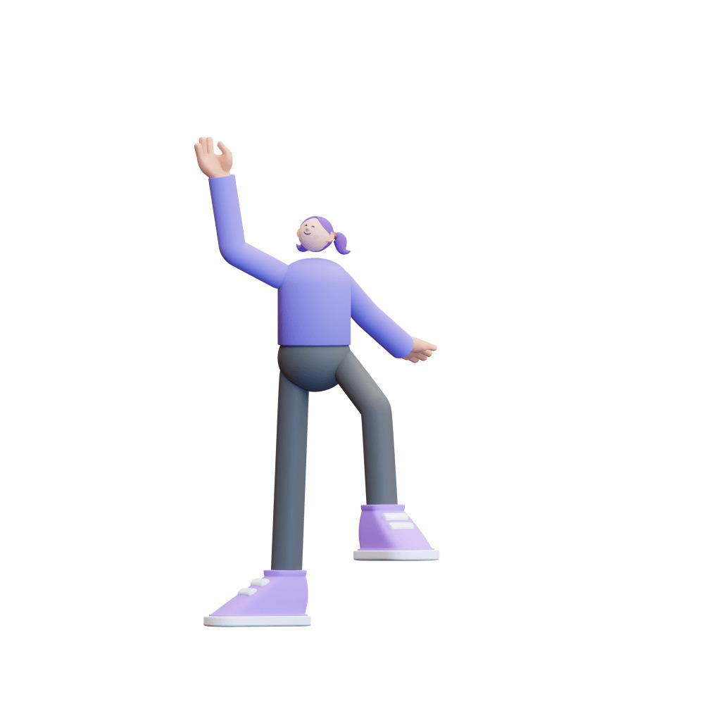 3d illustration of a girl dressed in purple
