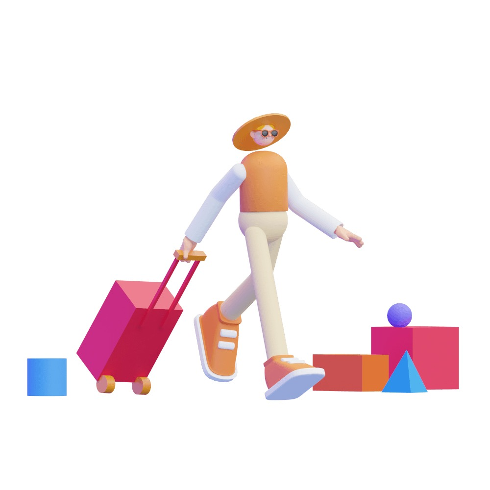 3d girl walking with spinner luggage