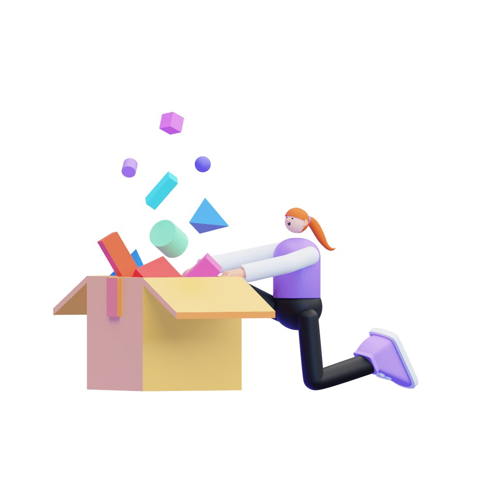 3d girl opening a box