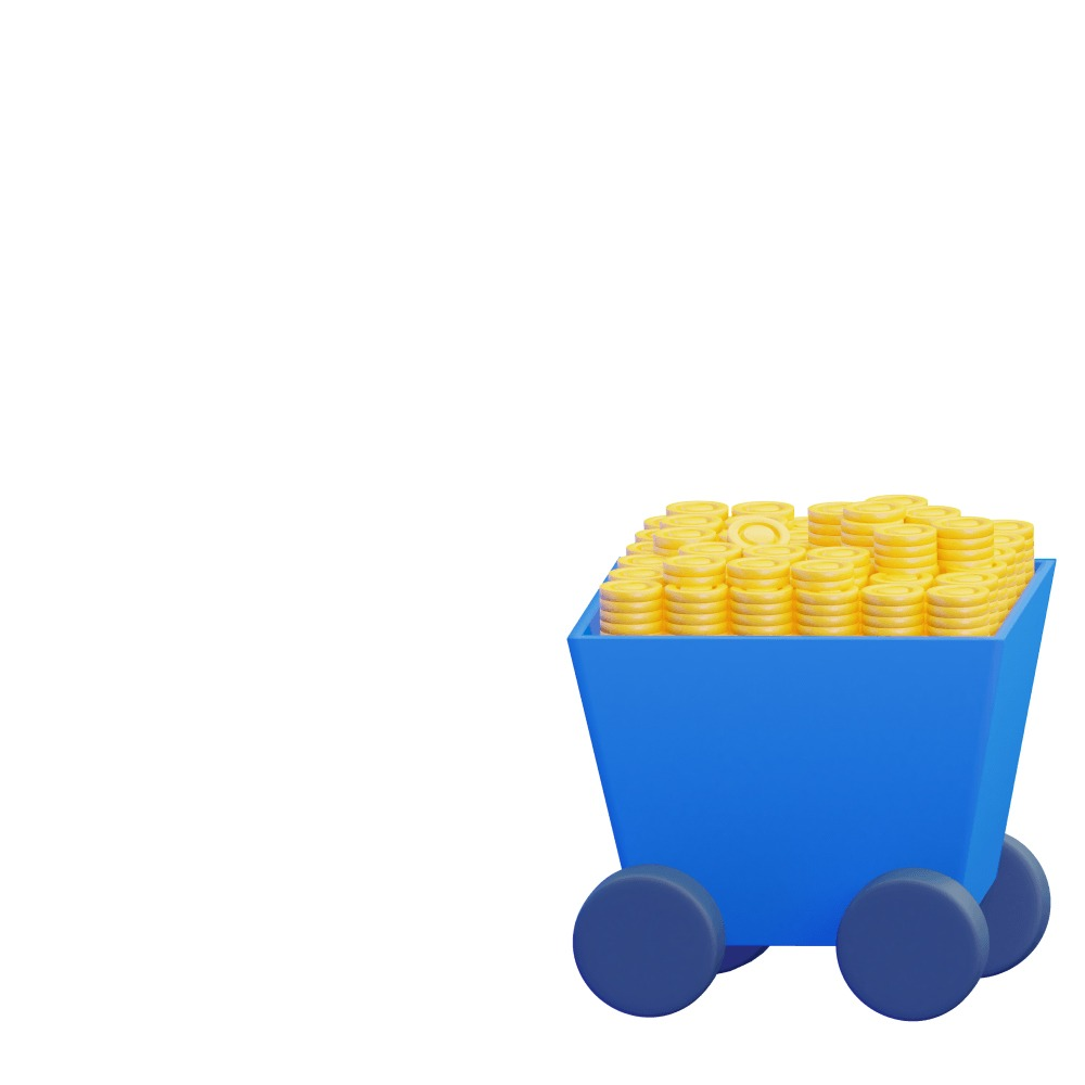 3d illustration of a cart filled with gold bars