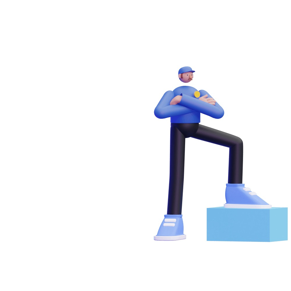3d illustration of a man dressed as a security guard
