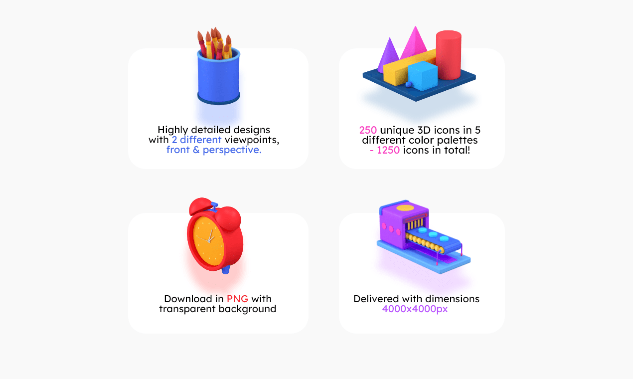 the features of the 3d icons pack
