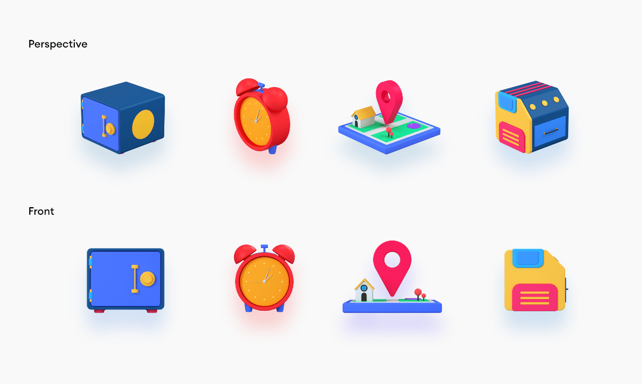 3d icons showing front and isometric perspective