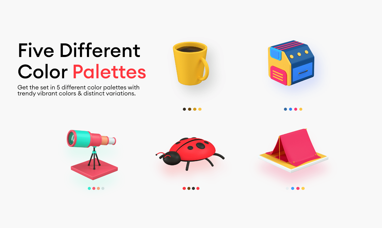 3d icons with 5 different color palettes