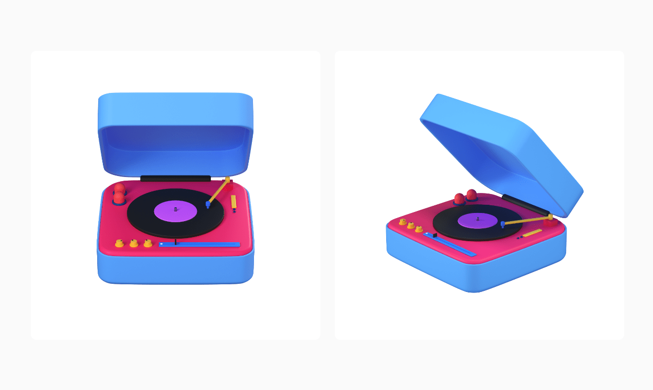 3d icon showed in front and isometric perspective