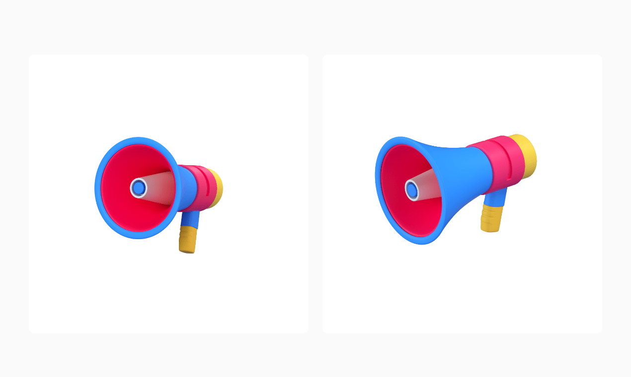 3d icon of a loud speaker displayed in 2 perspectives