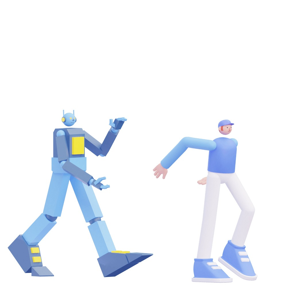3d illustration of a man and a robot walking