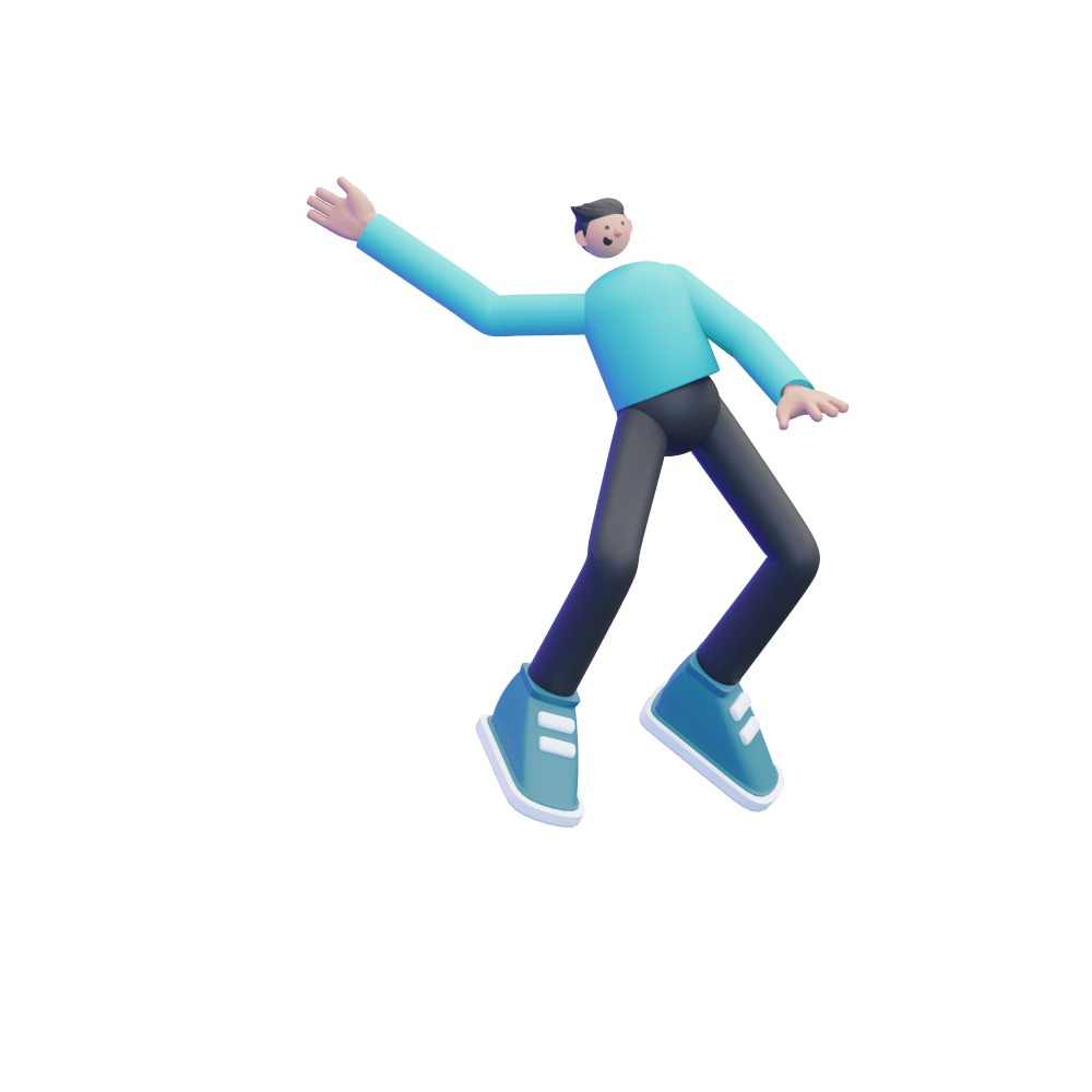 3d illustration of a male 3d character flying