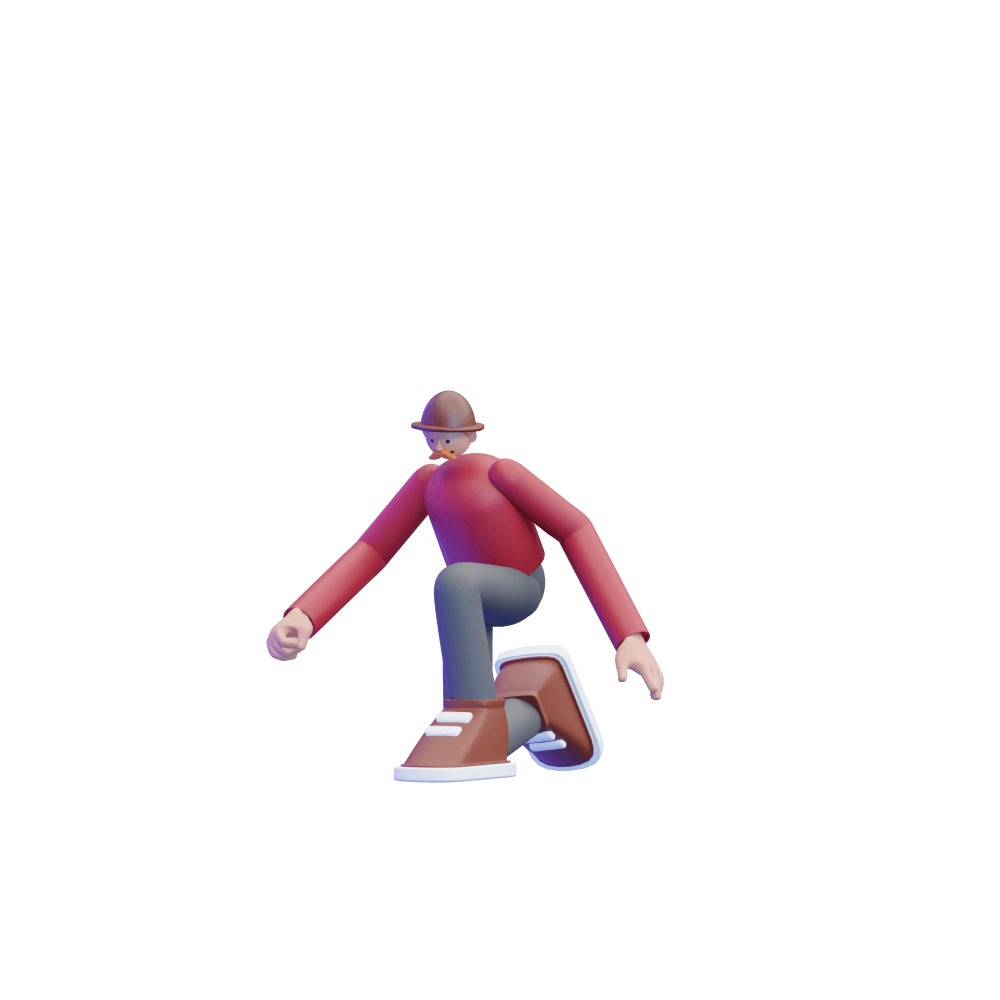 3d illustration of a male 3d character kneeling down
