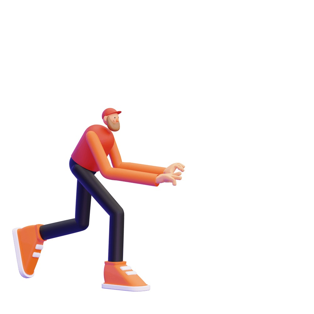 3d illustration of a man doing a pushing motion