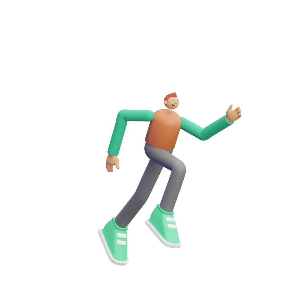 a male 3d character performing a running motion