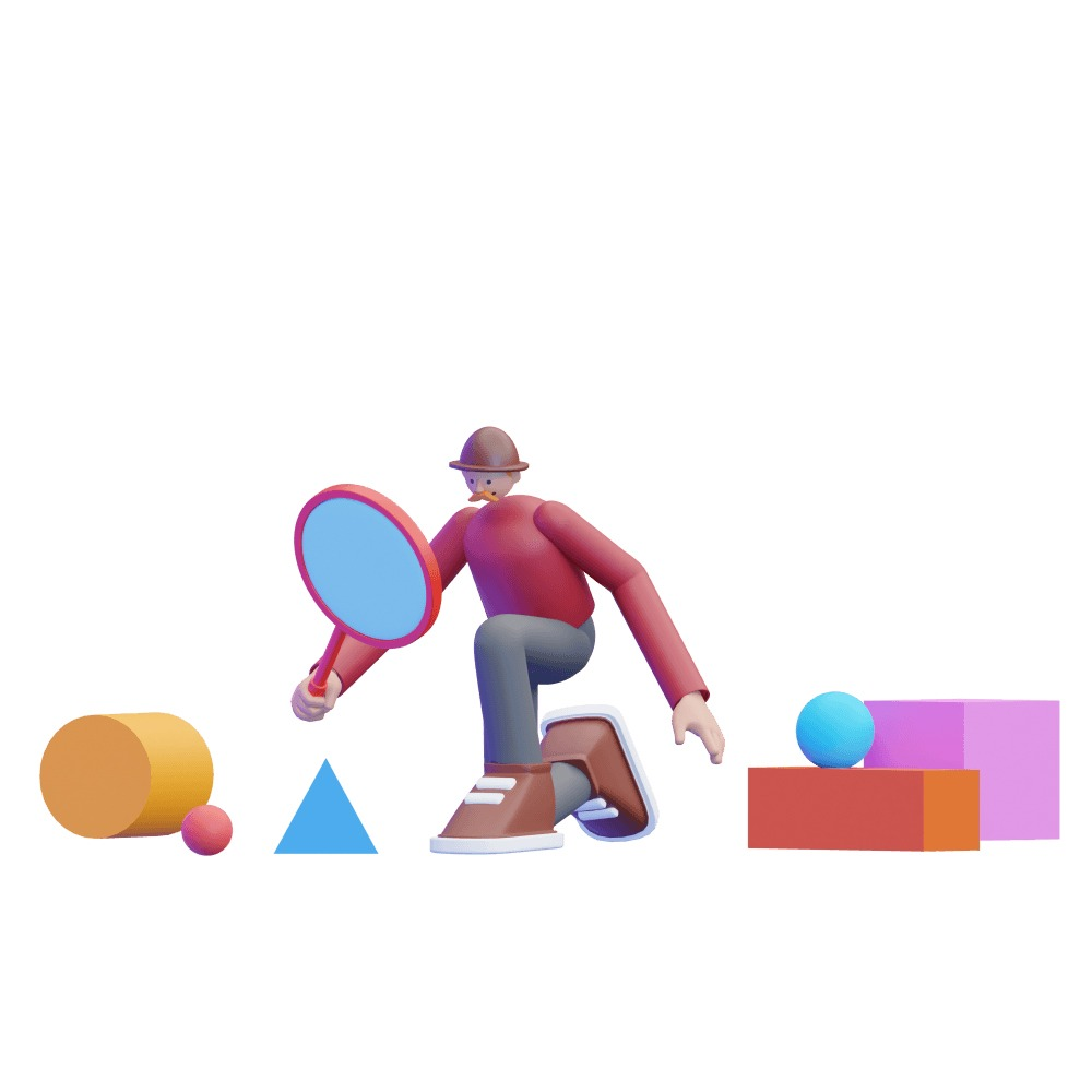 3d man kneeling down searching the ground with a magnifying glass