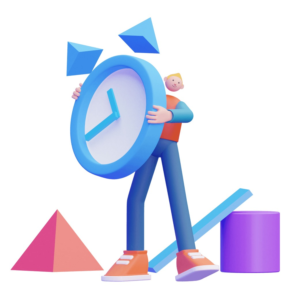 3d man holding a large 3d clock