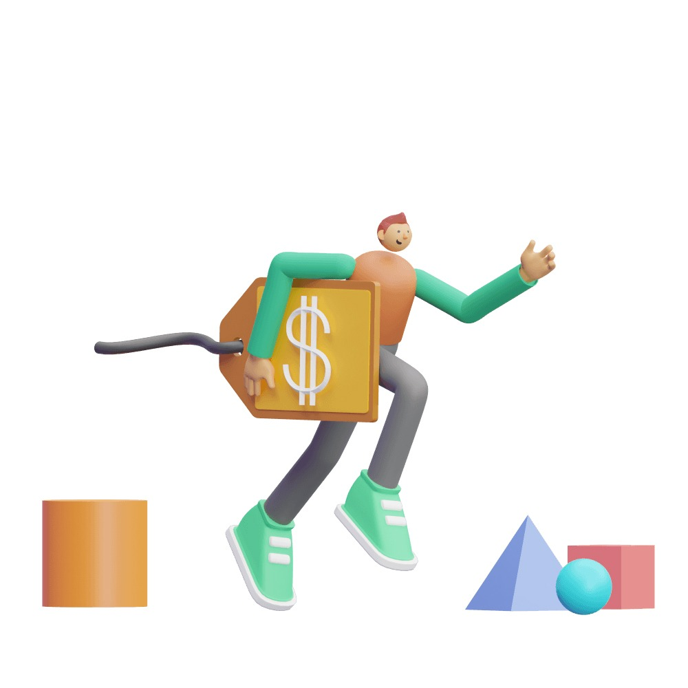 3d man running with a price tag