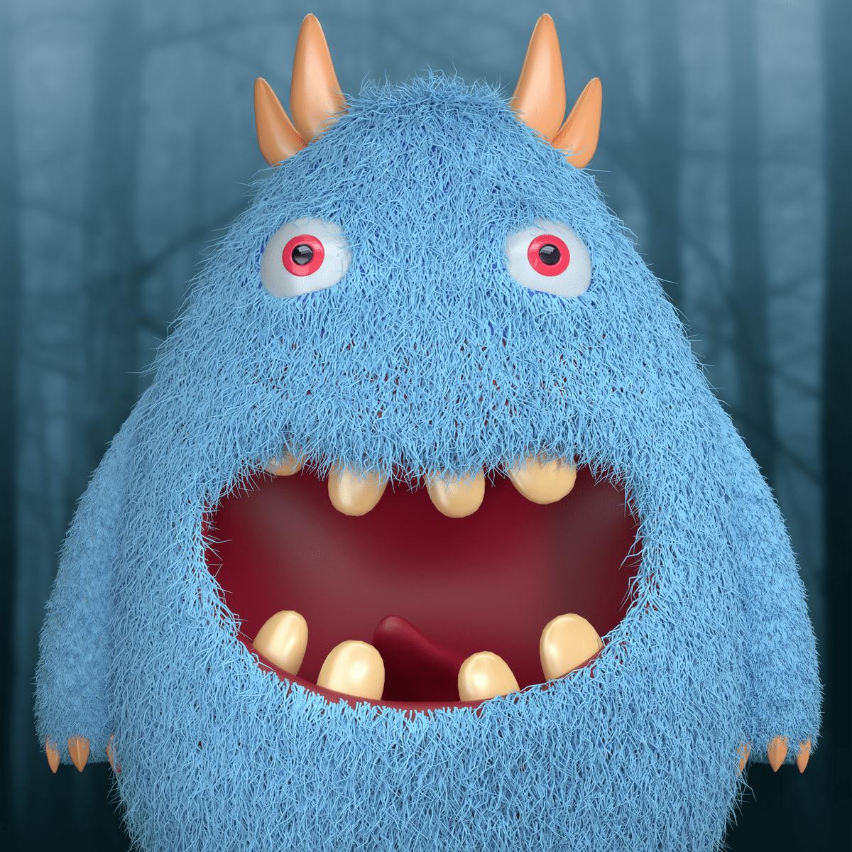 a blue monster 3d character