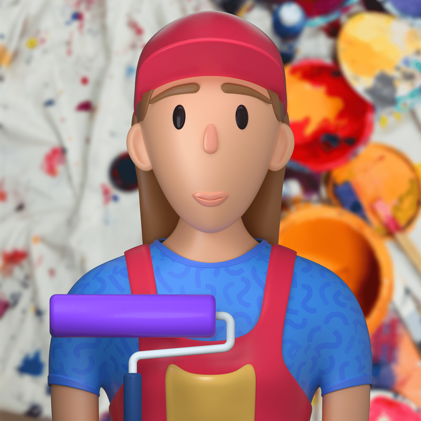 a painter character in 3d design style