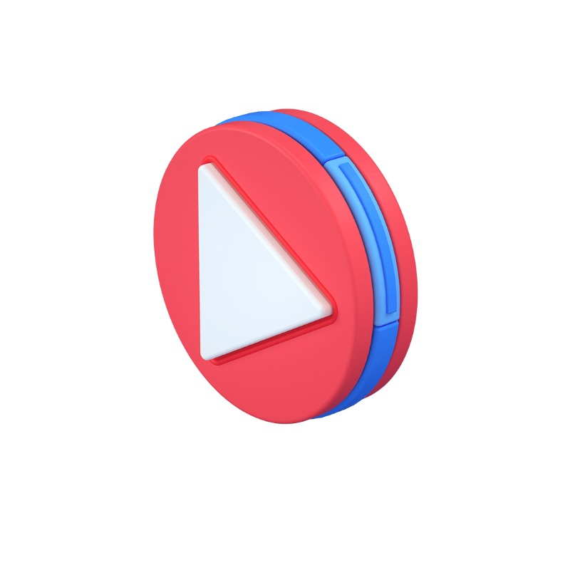 3d icon version of the play media button