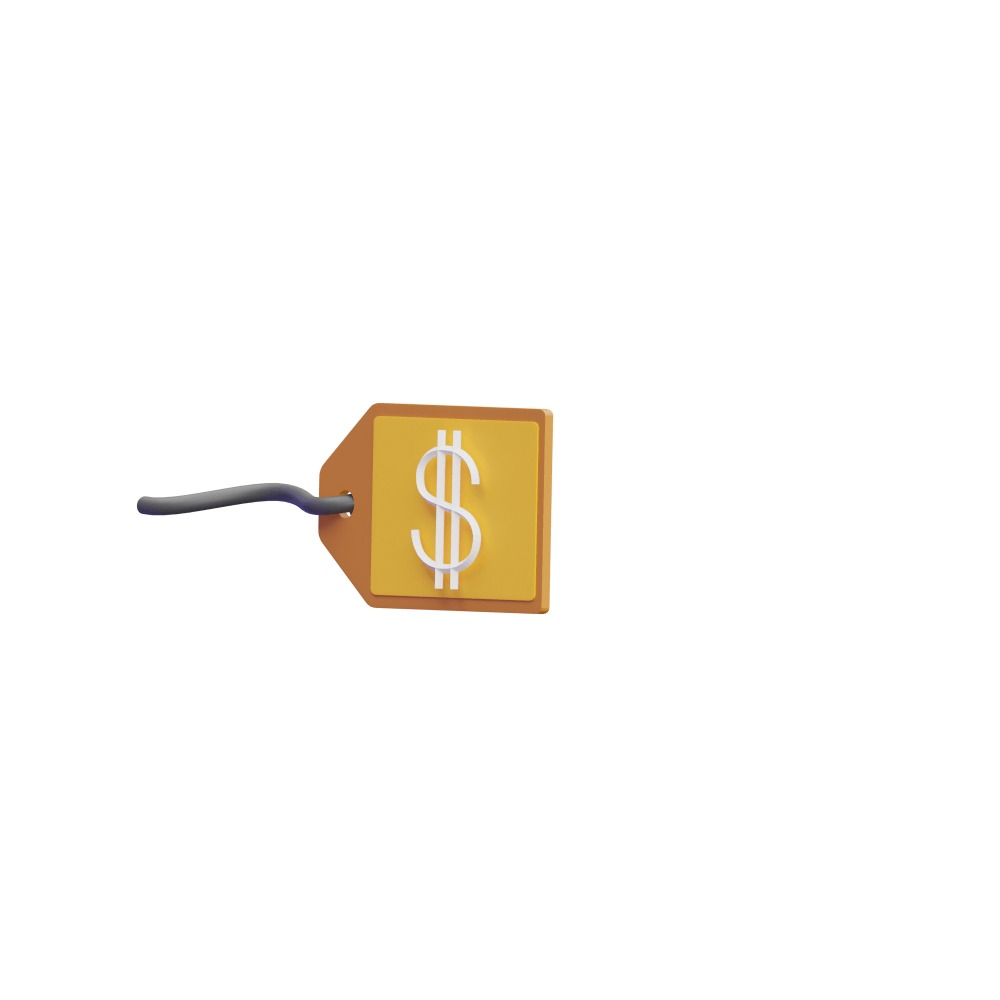3d illustration of a price tag with the dollar sign