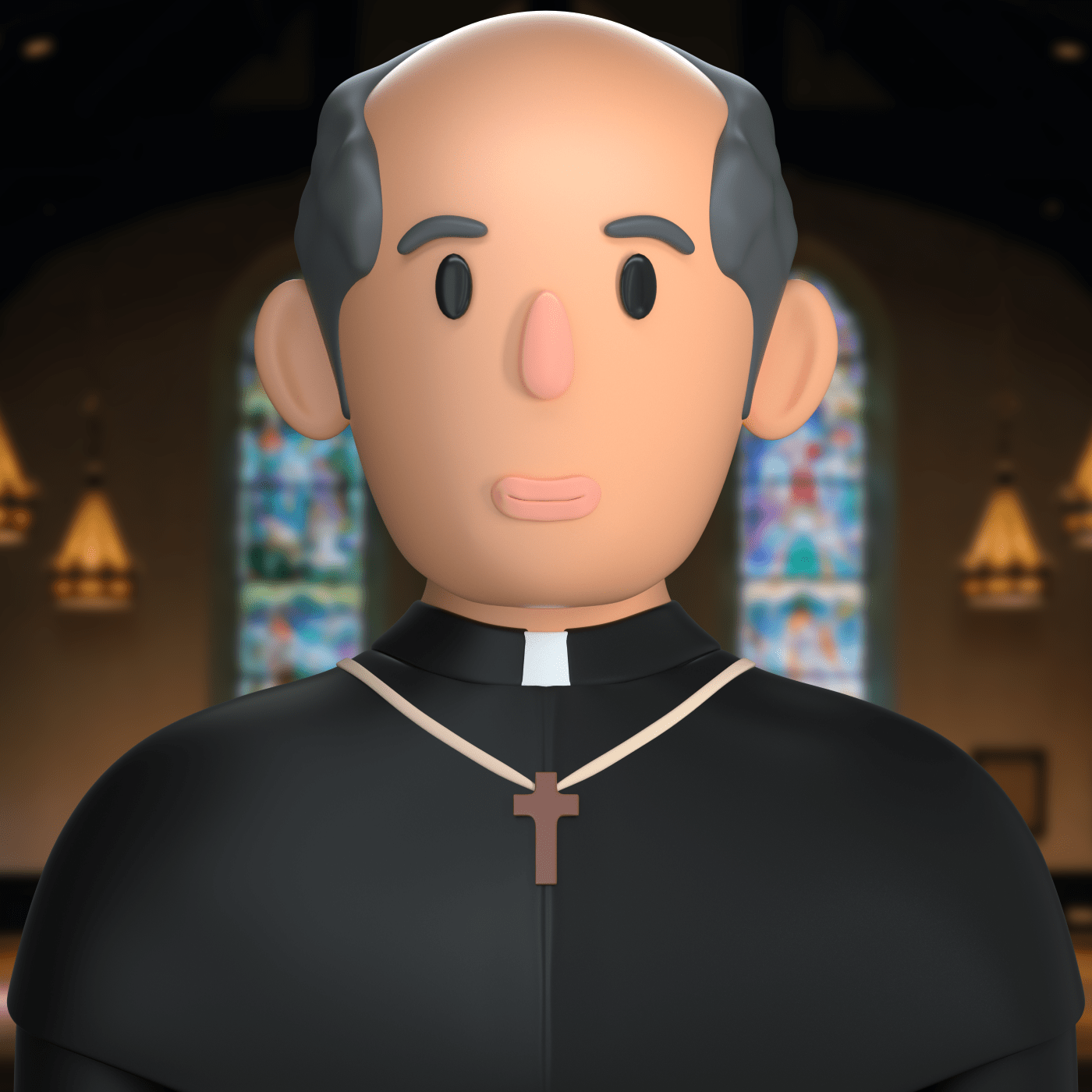 a priest character in 3d design style