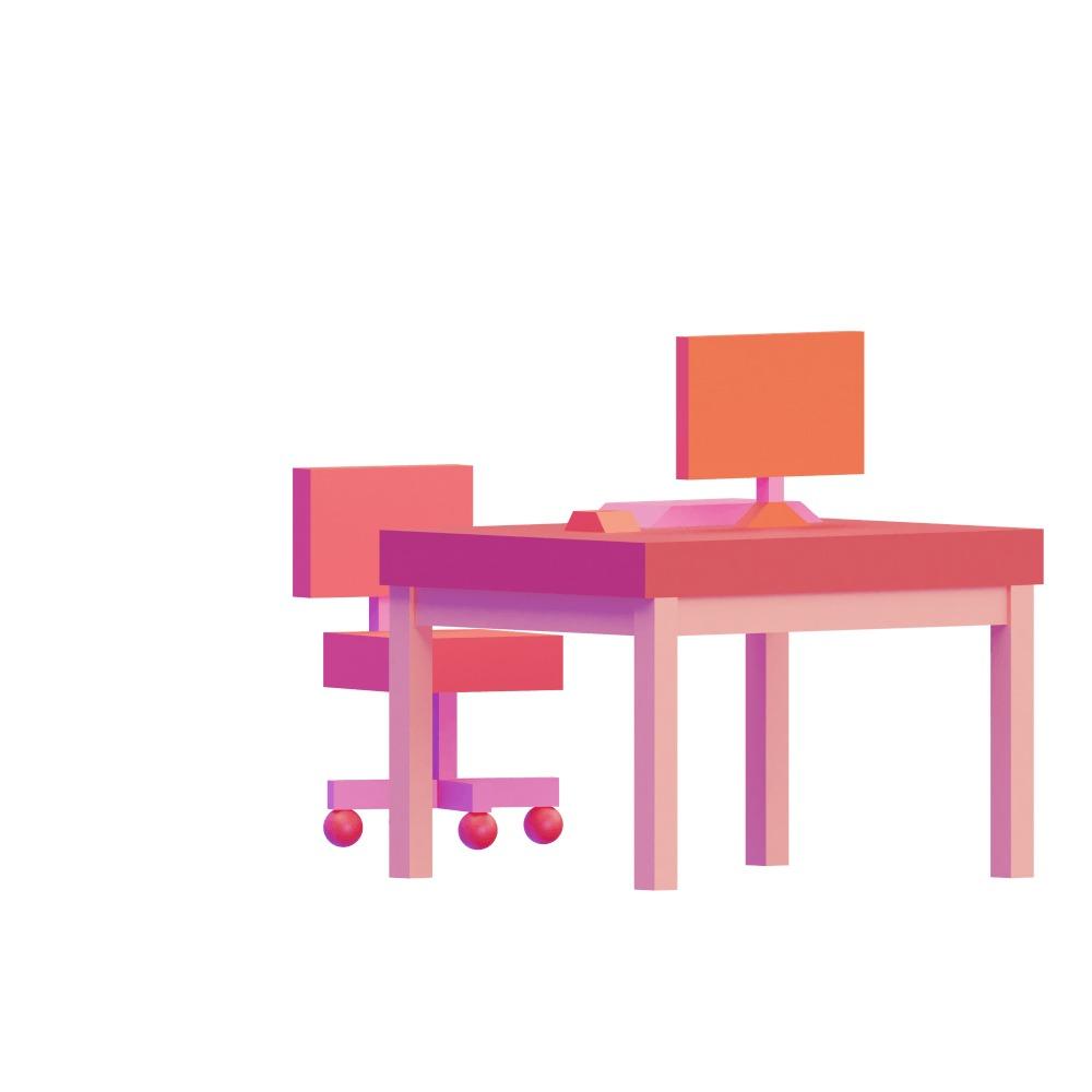 3d illustration of a desk colored red & orange