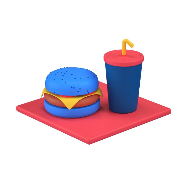 3d icon showing a hamburguer and a drink