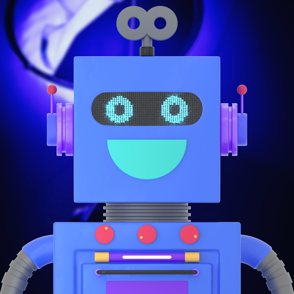 a blue robot character in 3d design style