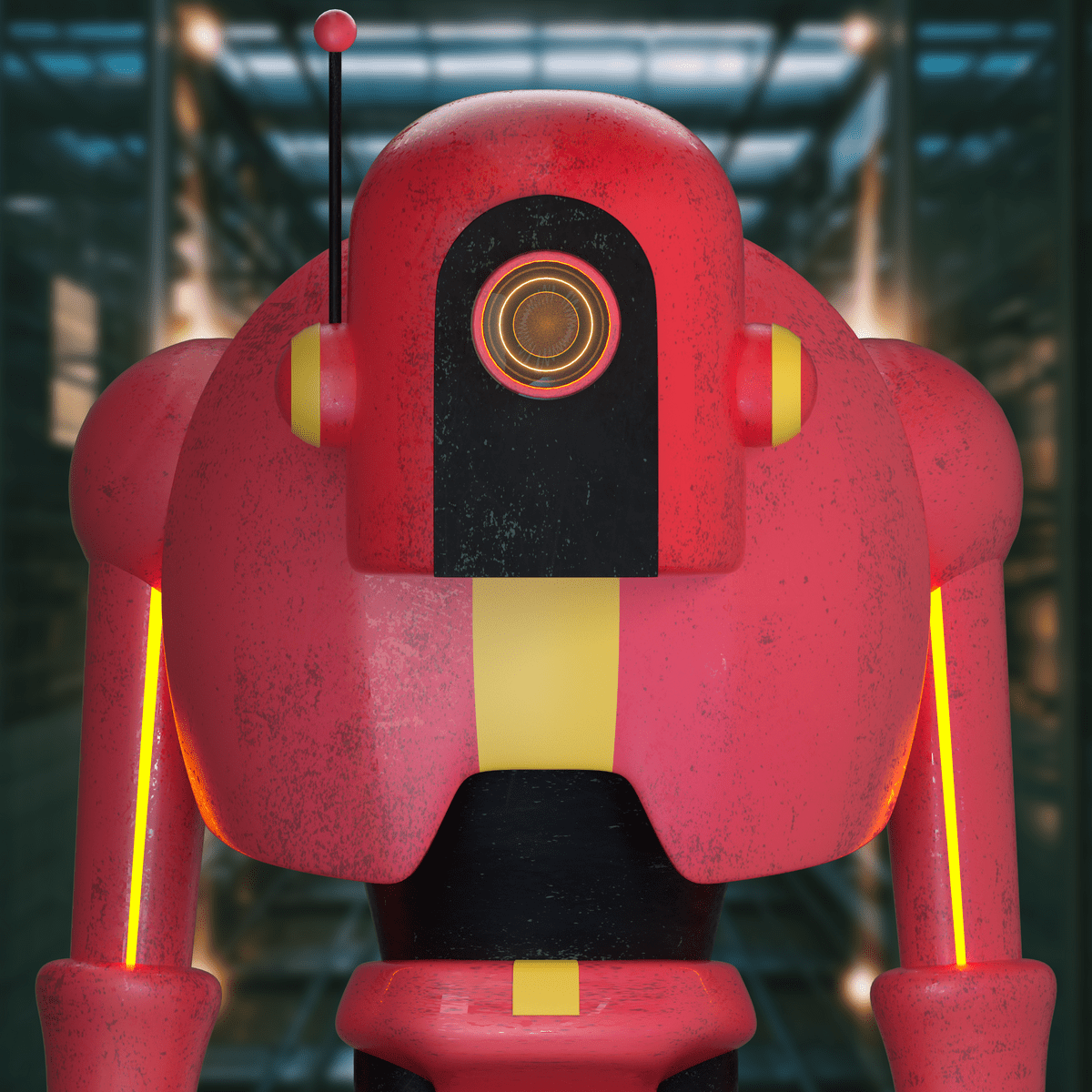 a red robot in 3d design style