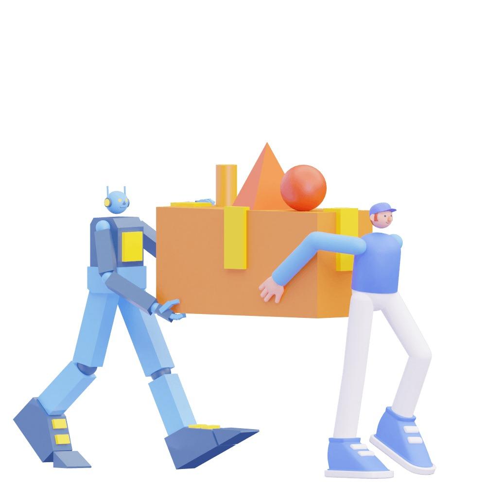 3d robot and 3d man carrying a large box