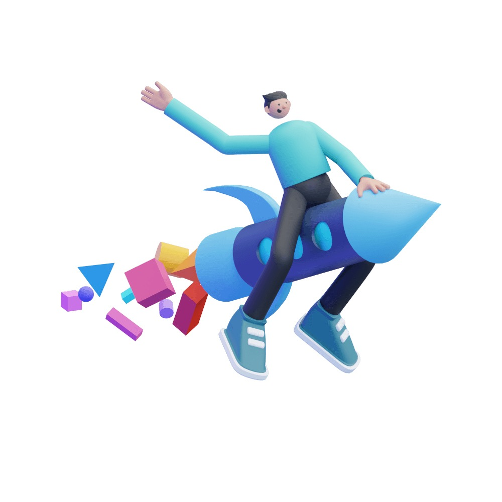3d man taking off on top of a 3d rocket