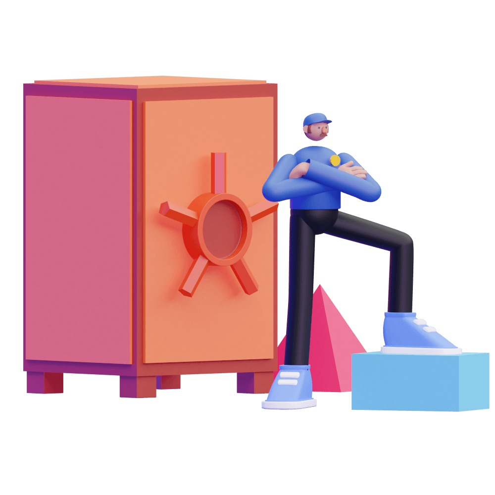 3d man standing in front of a security vault