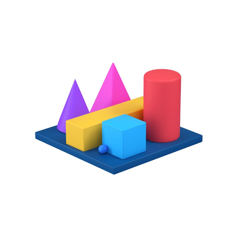 3d icon showing many geometric shapes