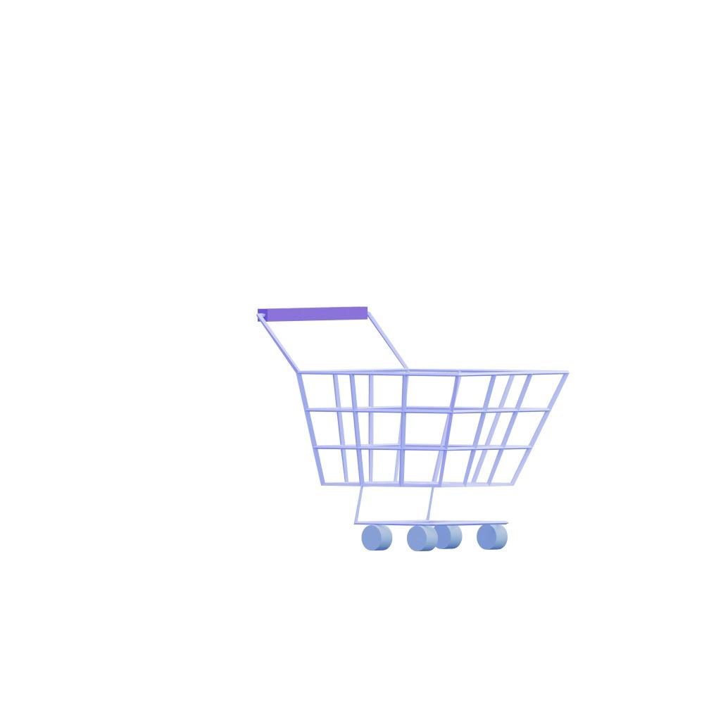 3d illustration of an empty shopping cart