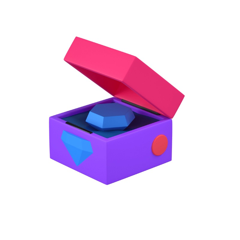 3d icon of a box with a diamond shape inside