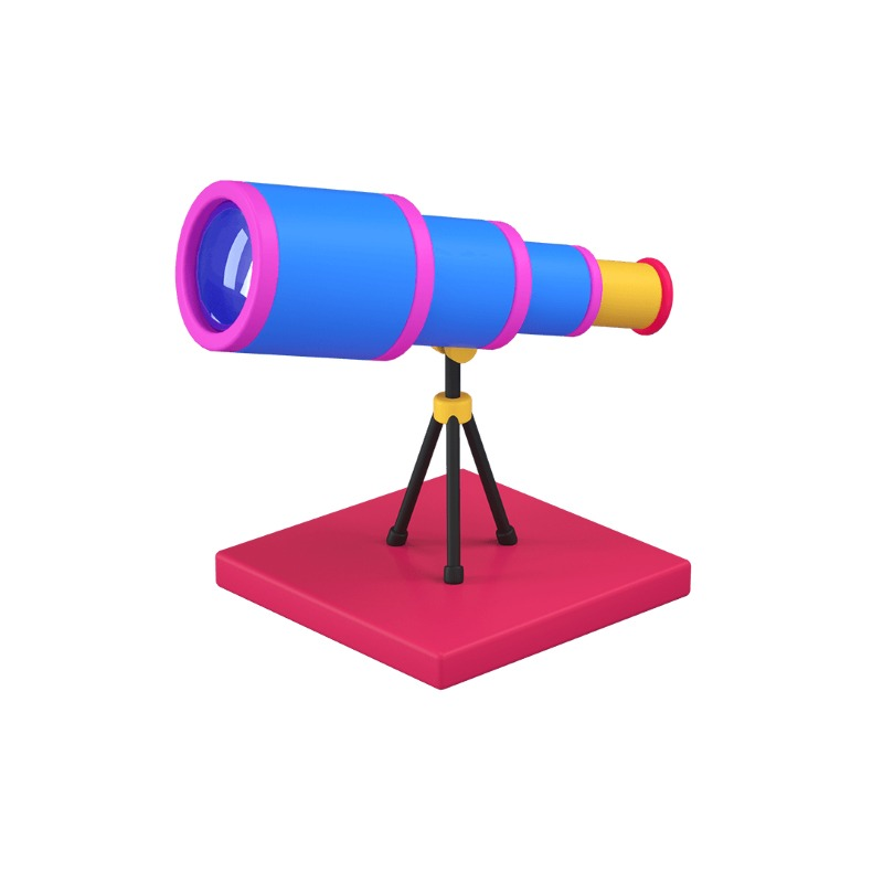 3d icon of a telescope or a spyglass