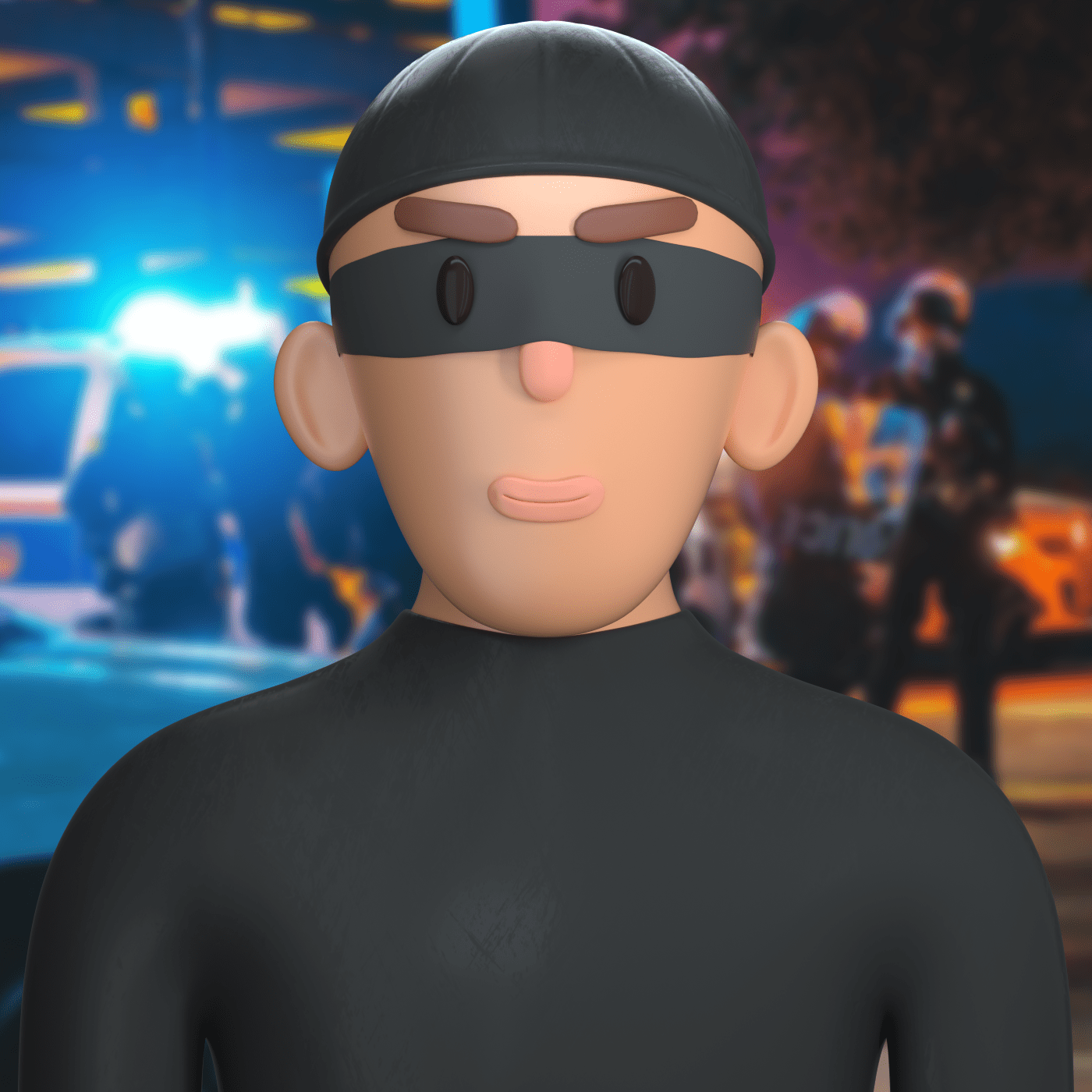 a thief character in 3d design style