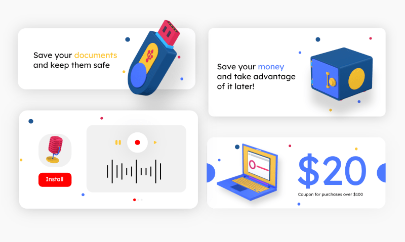 many images using 3d icons with slogans