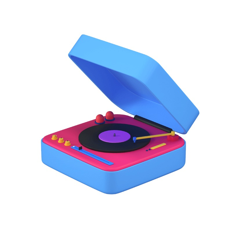 3d icon of a vinyl record player
