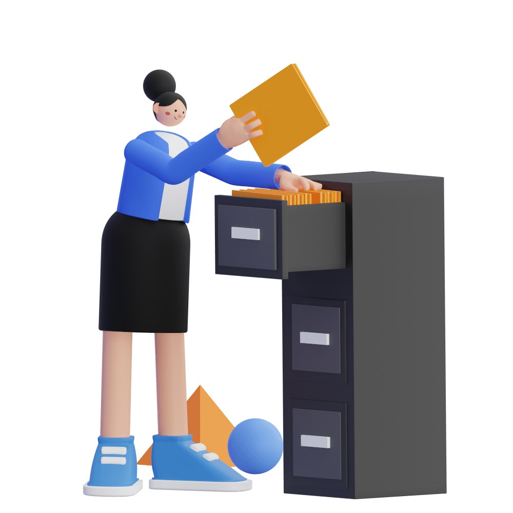 3d woman organizing a filing cabinet